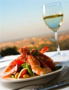 prawns and wine