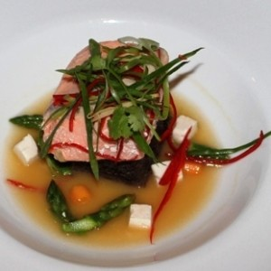 Confit Salmon with Yuzu Miso Broth