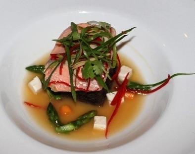 Confit Salmon with Yuzu Miso Broth